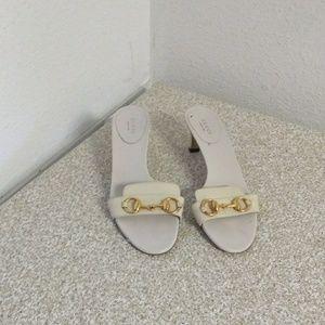 "Gucci ""Horsebit"" Cream/White Leather Sandals"